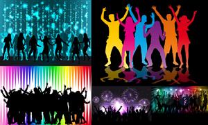 跳起舞蹈的激情人群剪影矢量素材V5