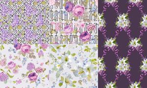 无缝平铺逼真质感花朵图案矢量素材