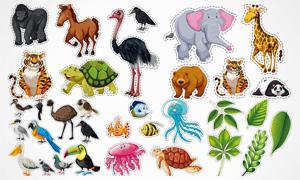 鸵鸟大象与鹦鹉乌龟灯动物矢量素材