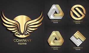 金色与银色的质感标志创意矢量素材