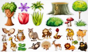 骆驼狮子与雄鹰老虎等动物矢量素材