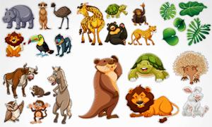 金钱豹长颈鹿与狮子等动物矢量素材