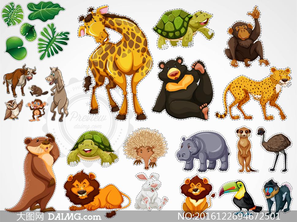 矢量素材矢量图设计素材标签虚线贴纸动物卡通可爱长颈鹿海龟乌龟猴子