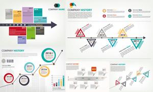 公司发展轨迹主题信息图表矢量素材