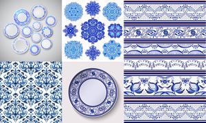 碗碟适用青花装饰花纹图案矢量素材