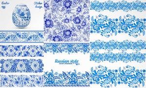 应用广泛蓝色植物花纹图案矢量素材