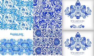 蓝色植物花纹与花鸟图案等矢量素材