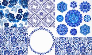 蓝色四方连续无缝拼贴图案矢量素材