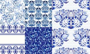蓝色花朵花纹图案装饰背景矢量素材