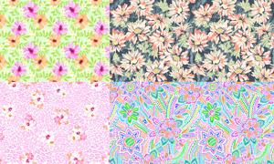 花朵图案主题四方连续背景矢量素材