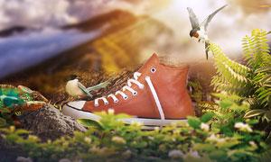 小清新风格的男鞋海报PS教程素材