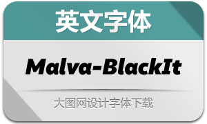 Malva-BlackItalic(英文字体)