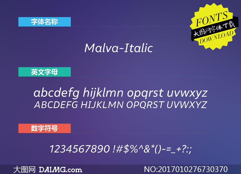 Malva-Italic(英文字体)