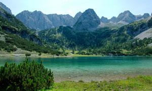 山脚下绿色湖泊高清摄影图片