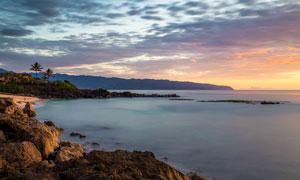海边美丽的夕阳景色高清摄影图片