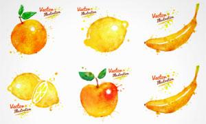 水彩墨迹喷溅蔬菜水果矢量素材集V2