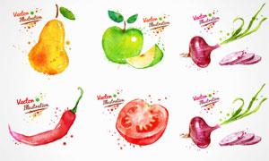 水彩墨迹喷溅蔬菜水果矢量素材集V4
