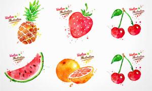 水彩墨迹喷溅蔬菜水果矢量素材集V5