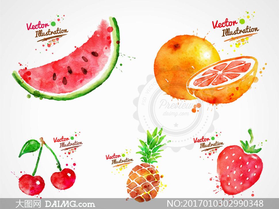 关 键 词: 矢量素材矢量图设计素材水彩墨迹喷溅水果墨点西瓜橙子