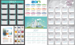 扁平化建筑群2017日历设计矢量素材