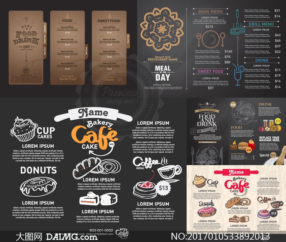 > 素材信息                          西餐厅餐牌菜单版式设计等矢量