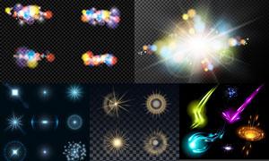 十字星光与炫丽缤纷光效等矢量素材