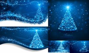 梦幻星光曲线圣诞背景创意矢量素材