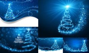 璀璨星光装饰的圣诞树创意矢量素材