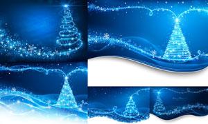 蓝色梦幻璀璨星光圣诞背景矢量素材