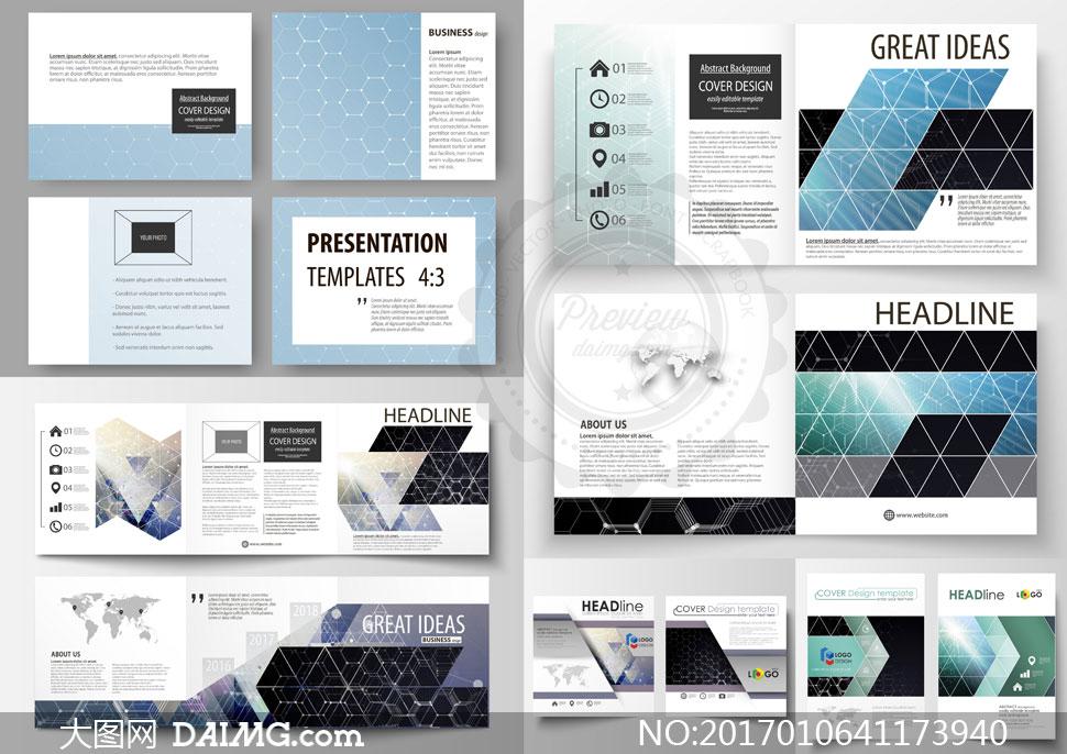 画册内页与单页版式设计矢量素材v4