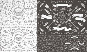 飘带元素与手绘花纹边框等矢量素材