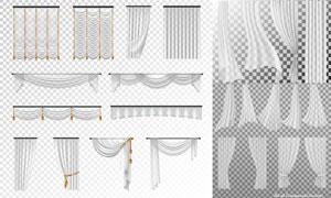 黑白格子背景上的窗帘设计矢量素材