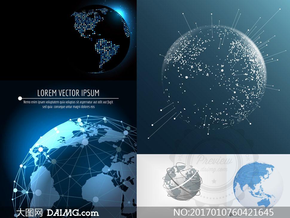 点线相连的世界地图创意矢量素材v2