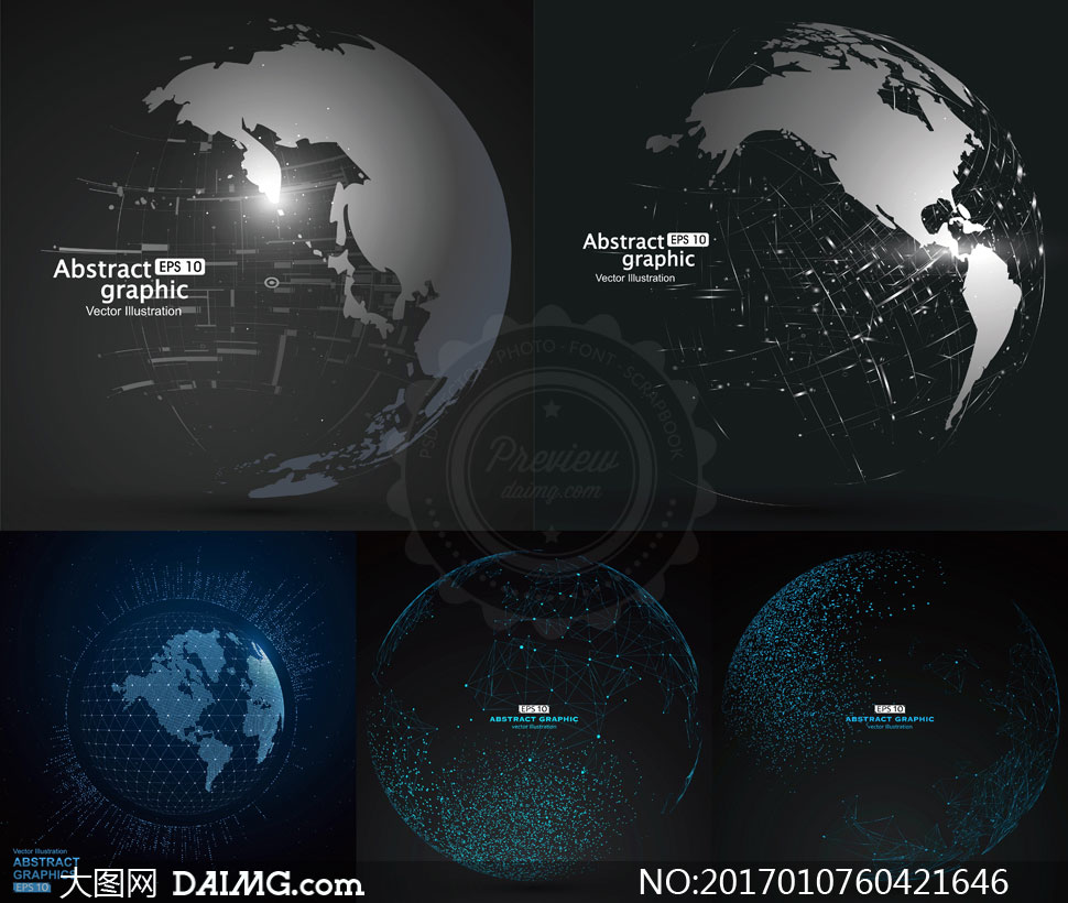 点线相连的世界地图创意矢量素材v3