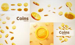 形态各异金色钱币创意设计矢量素材