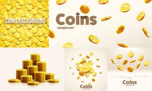 金灿灿的立体质感钱币创意矢量素材