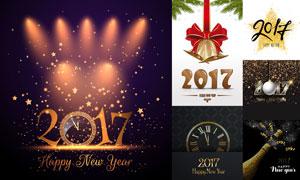 铃铛香槟酒等2017新年创意矢量素材