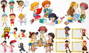 学习运动场景中的卡通儿童矢量素材