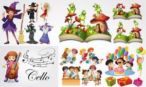 女巫与卡通人物等创意设计矢量素材