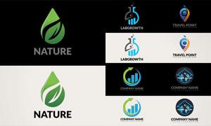 箭头与绿叶等元素标志创意矢量素材