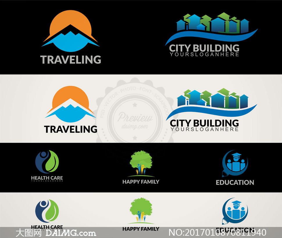 家庭与城市建筑等元素标志矢量素材