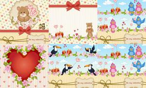 玩具熊与小鸟礼物盒等创意矢量素材
