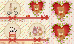 花朵藤蔓边框与玩具熊创意矢量素材