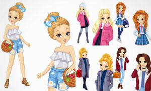 时尚休闲服装模特美女人物矢量素材