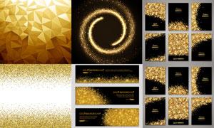 多边形与金色碎屑BANNER矢量素材