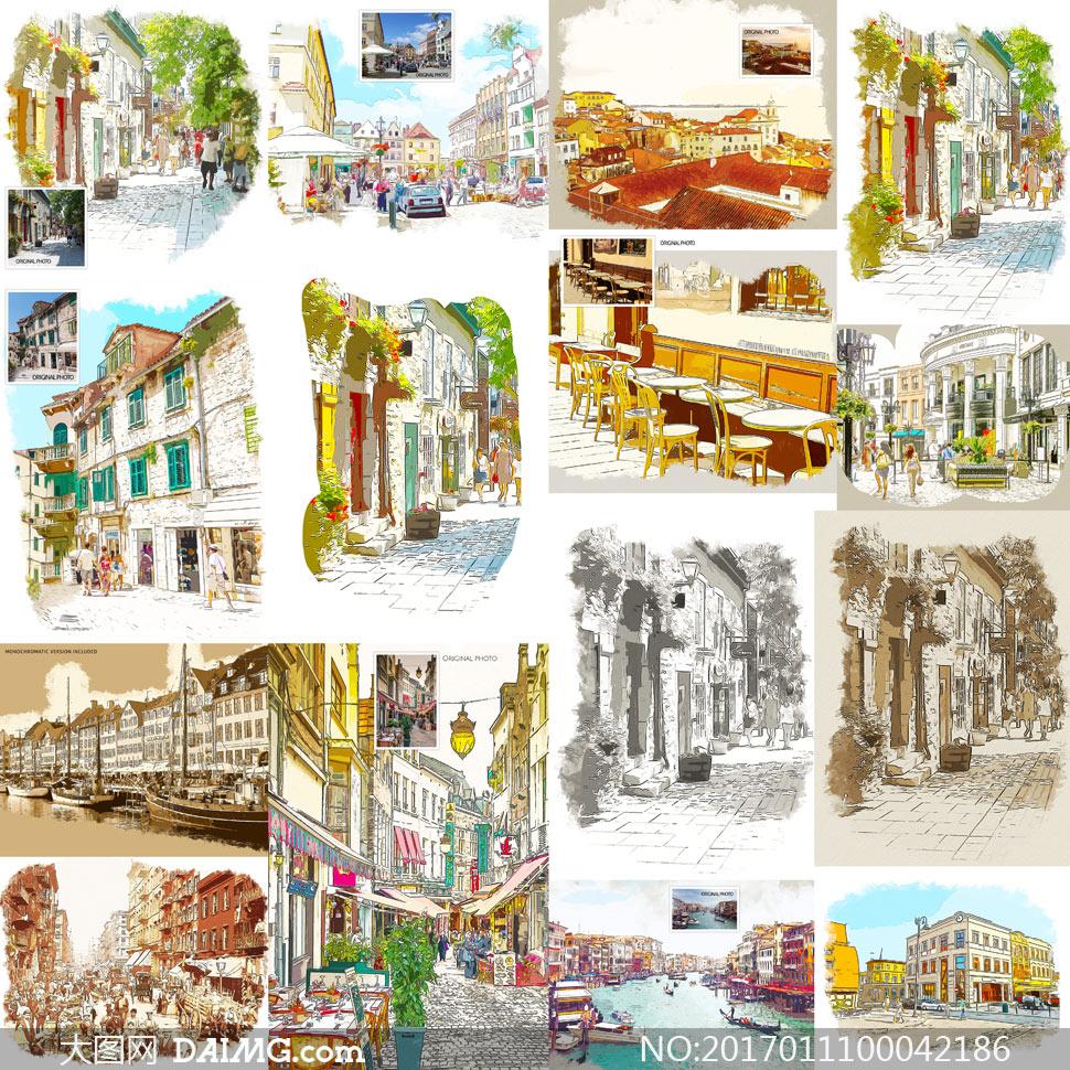 中文版城市转水彩画效果PS动作