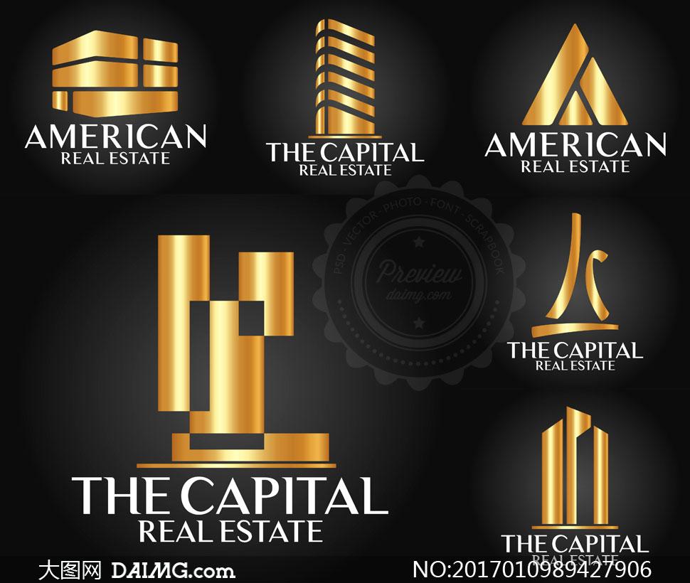 金色奢华风格房地产标志矢量素材V1