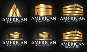 金色奢华风格房地产标志矢量素材V2