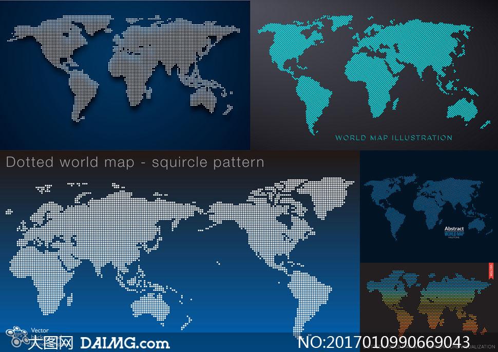 点状元素世界地图创意设计矢量图V1
