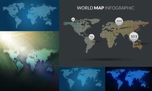 点状元素世界地图创意设计矢量图V2